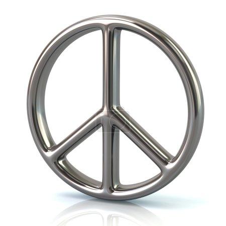 Photo pour 3D illustration du symbole de paix argent isolé sur fond blanc - image libre de droit