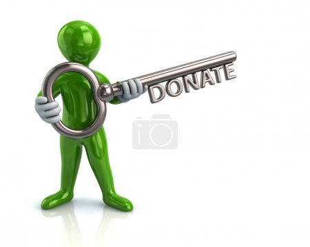 Man holding key with word donate