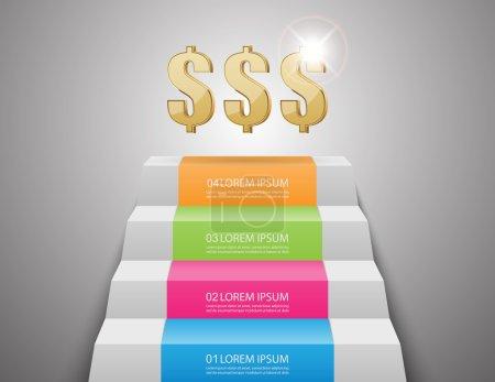 Ladders to money.vector illustration