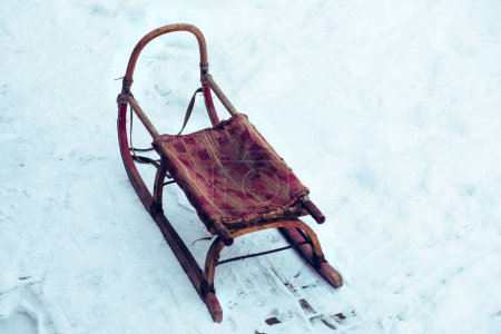Photo for Wooden sledge on the snow. High quality photo - Royalty Free Image