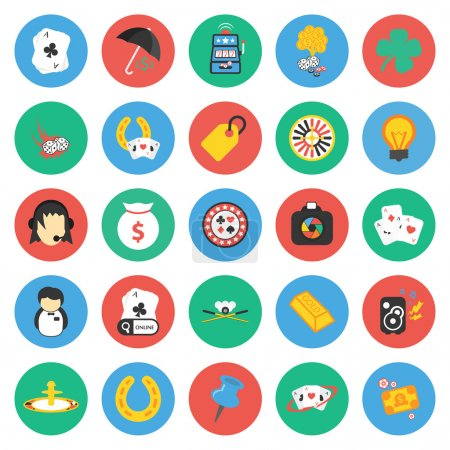 Casino, gambling 25 flat icons set for web