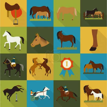 Horse, racing, racetrack 16 flat icons. Long shadow design for web.