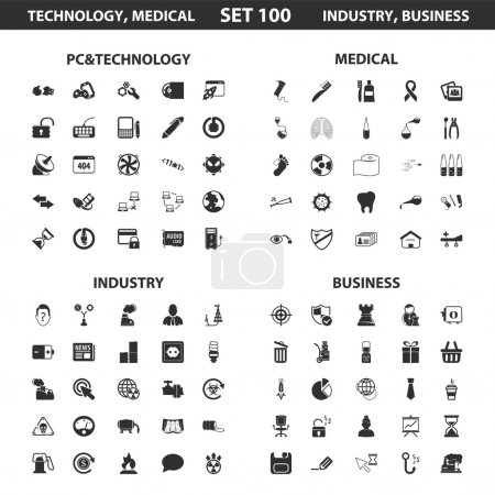 Pc, technology set 100 black simple icons. Medical, industry, business icon design for web and mobile.