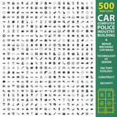 Car automobile vehicle set 500 black simple icons Machine repair mechanic icon design for web and mobile