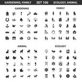 Ecology family set 100 black simple icons Gardening animal icon design for web and mobile