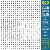 car automobile vehicle set 500 black simple icons Auto machine repair mechanic  icon design for web and mobile