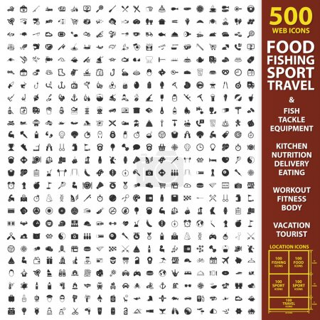 Food, fishing, sport set 500 black simple icons. Equipment, kitchen, nutrition icon design for web and mobile.