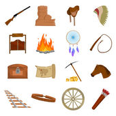 Wild west 16 vector icons set in cartoon style