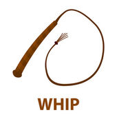 Whip icon cartoon Singe western icon from the wild west set - stock vector