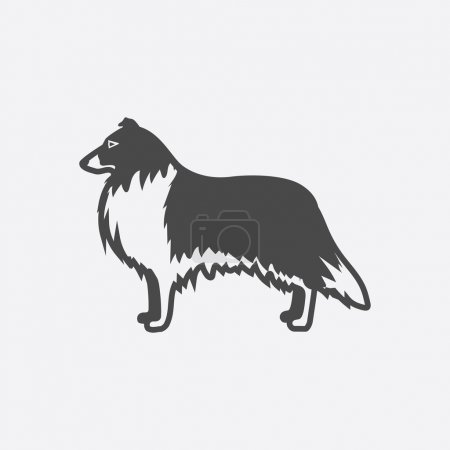 Collie icon black simple. Singe dog icon from the dog breads set - stock vector