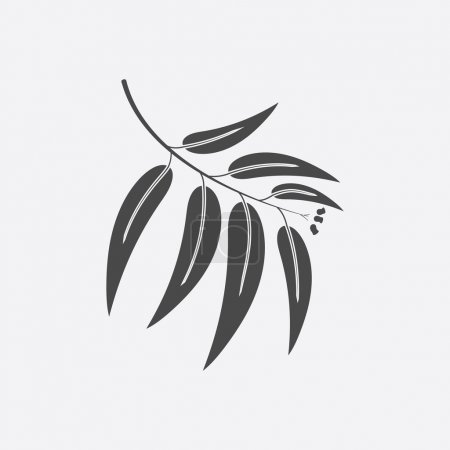 Illustration for Eucalyptus icon black simple style. Singe nature icon from the big forest plant set. - Royalty Free Image