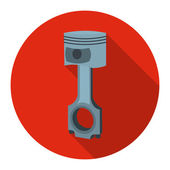 Piston icon flat Single silhouette auto parts icon from the big car flat - stock vector