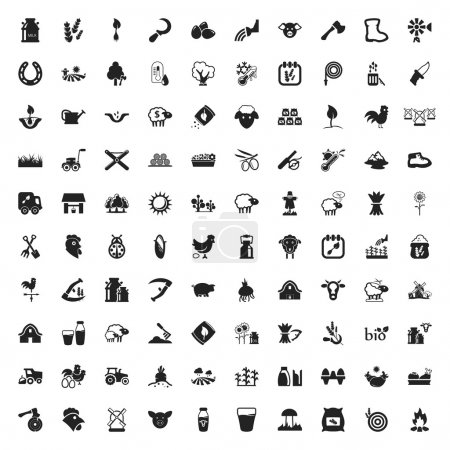 gardening 100  icons set for web