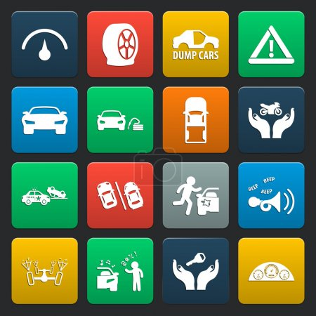 car, accident 16 simple icons set for web