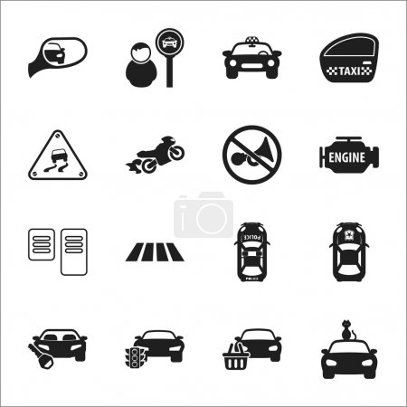 Illustration for Car, accident 16 black simple icons set for web design - Royalty Free Image
