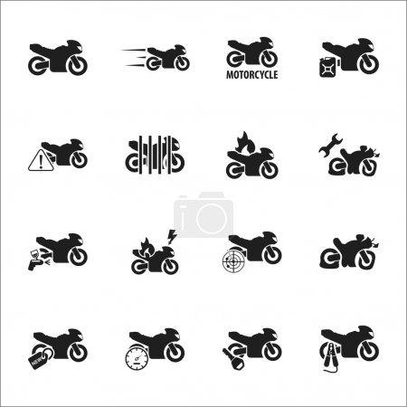 Moto, motorcycle 16 black simple icons set for web