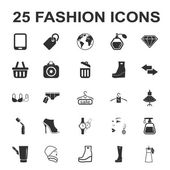 beauty shopping fashion 25 black simple icon set for web
