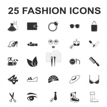 beauty, shopping, fashion 25 black simple icon set for web