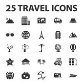 Travel vacation 25 black simple icons set for web design