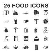 Food kitchen cooking 25 black simple icons set for web
