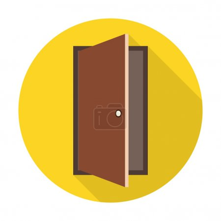 Illustration for Door flat icon with long shadow for web design - Royalty Free Image