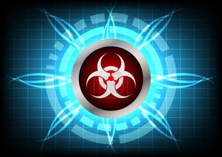 modern technology biohazard  button and light effect on blue bac