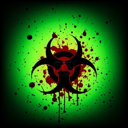 biohazard symbol with blood splash. illustration vector