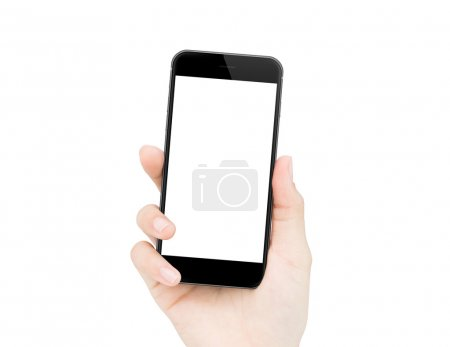 woman hand holding phone isolated clipping path inside