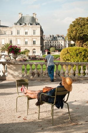 Woman in Luxembourg Gardens in Paris, France