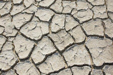 Crack soil of salt lake on dry season texture, Global worming effect.