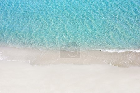 Photo for Beautiful white sand beach and tropical turquoise blue sea. View from above - Royalty Free Image