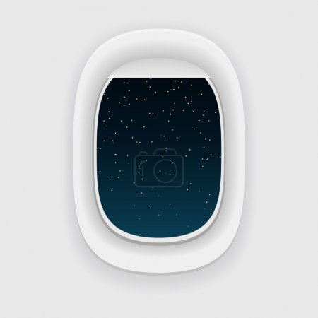Airplane window, or a porthole, at night. Star sky view.