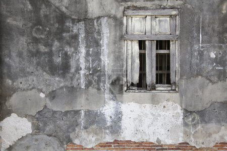 wooden window and grunge wall