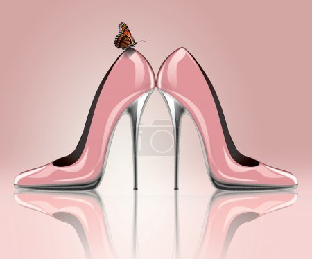 High heel shoes with butterfly
