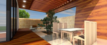 Foto de Render 3D de la terraza de casa moderna - Imagen libre de derechos