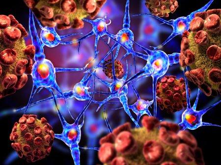 Detailed 3d illustration of Viruses and neuron cells.