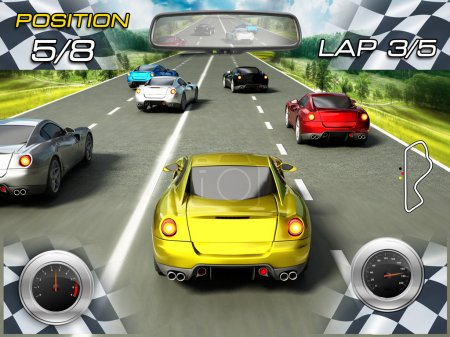 Photo for Car racing video game screen. - Royalty Free Image
