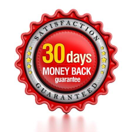 Photo pour 30 jours retour d'argent timbre isolé sur fond blanc. - image libre de droit