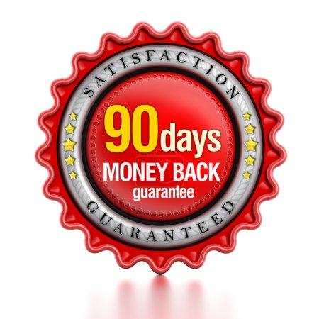 Photo pour 90 jours retour d'argent timbre isolé sur fond blanc. - image libre de droit