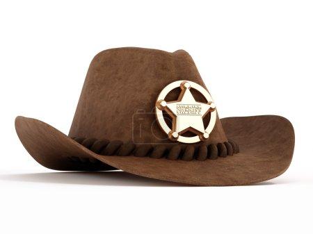Photo pour Chapeau de cowboy avec l'insigne de shérif d'isolement sur le fond blanc - image libre de droit