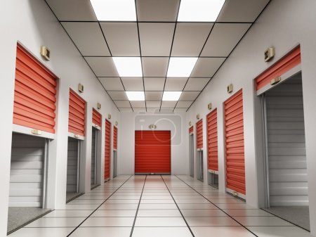 Photo for Storage rooms with open, closed and half open doors. - Royalty Free Image