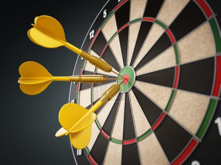 Yellow darts at the center of the target