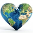 Heart shaped earth isolated on white background...