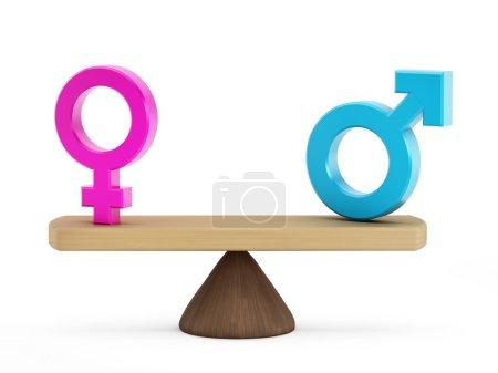 """Photo pour Concept d """"égalité homme-femme avec des symboles masculins et féminins sur les deux faces de l"""" échelle . - image libre de droit"""