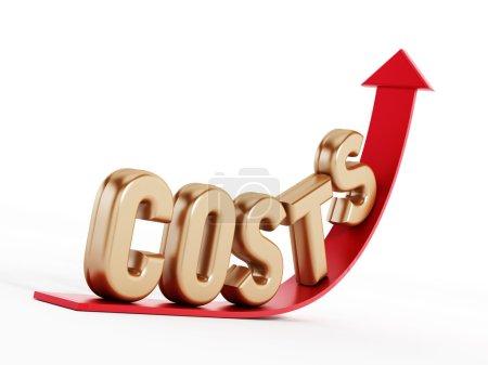 Photo pour Hausse des coûts texte sur la flèche - image libre de droit