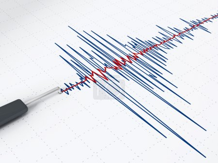 Seismic activity graph showing an earthquake....