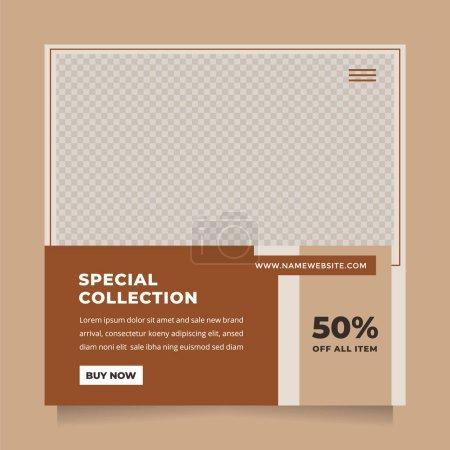 Illustration pour Propre et minimaliste médias sociaux post et modèle d'histoire promotion de la mode de marque. Design simple, élégant et minimal pour les invitations, bannières, couvertures et mouches - image libre de droit
