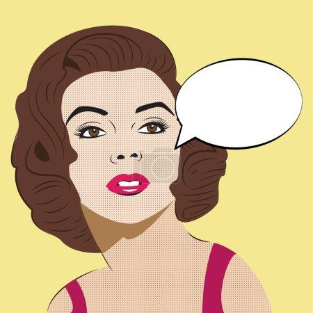Illustration pour Pop Art Femme avec bulle de discours comique. Style Pop Art - image libre de droit