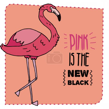 Flamingo hand drawn illustration. Vector illustration.