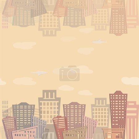 Illustration for Seamless pattern Modern real estate buildings design. Urban landscape. Vector texture - Royalty Free Image